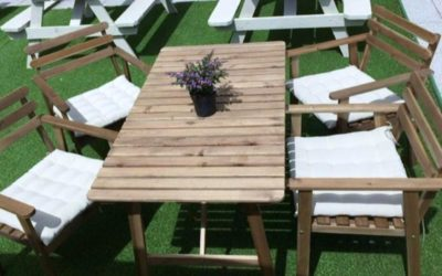 New wooden outdoor furniture hire